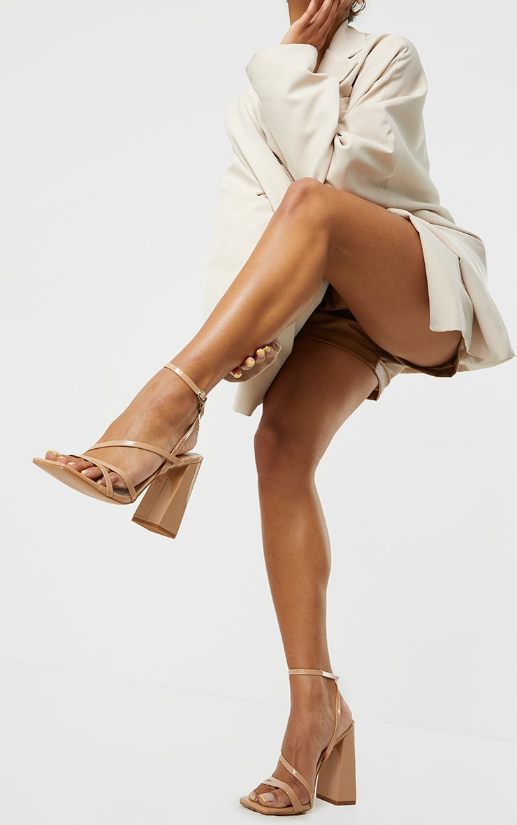 Nude Patent PU Square Toe Strappy High Block Heeled Sandals 1