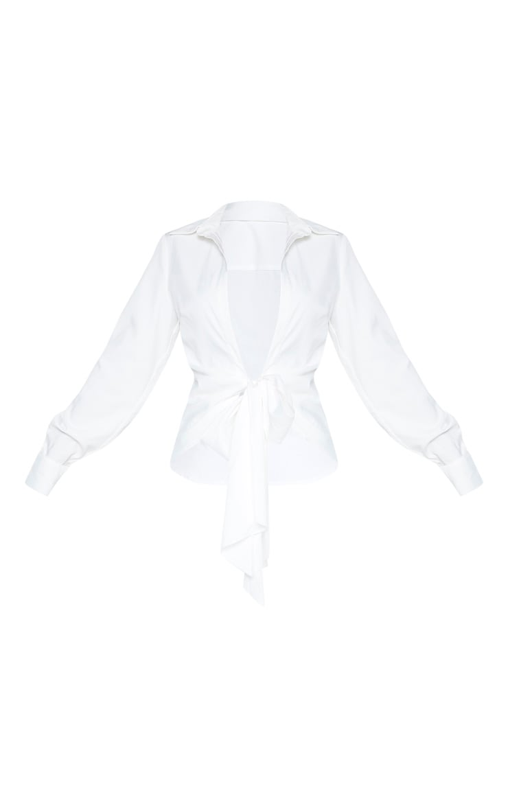 White Woven Tie Front Shirt 3