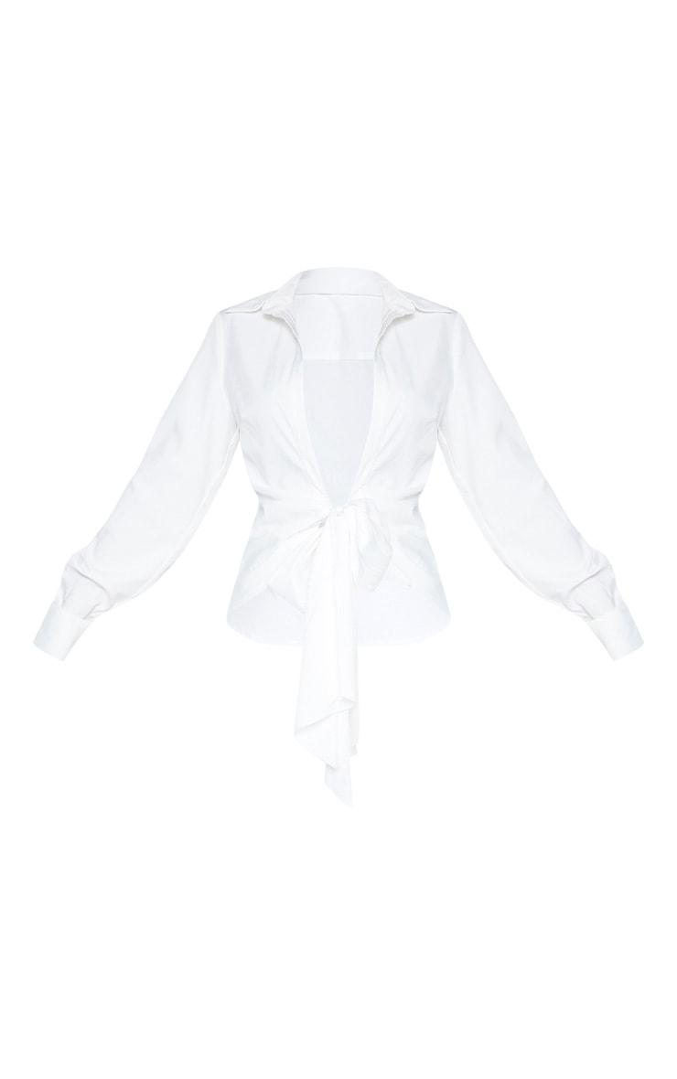 Chemise blanche à nouer en maille tissée 3