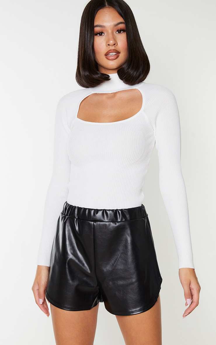 Black Faux Leather Runner Shorts 1