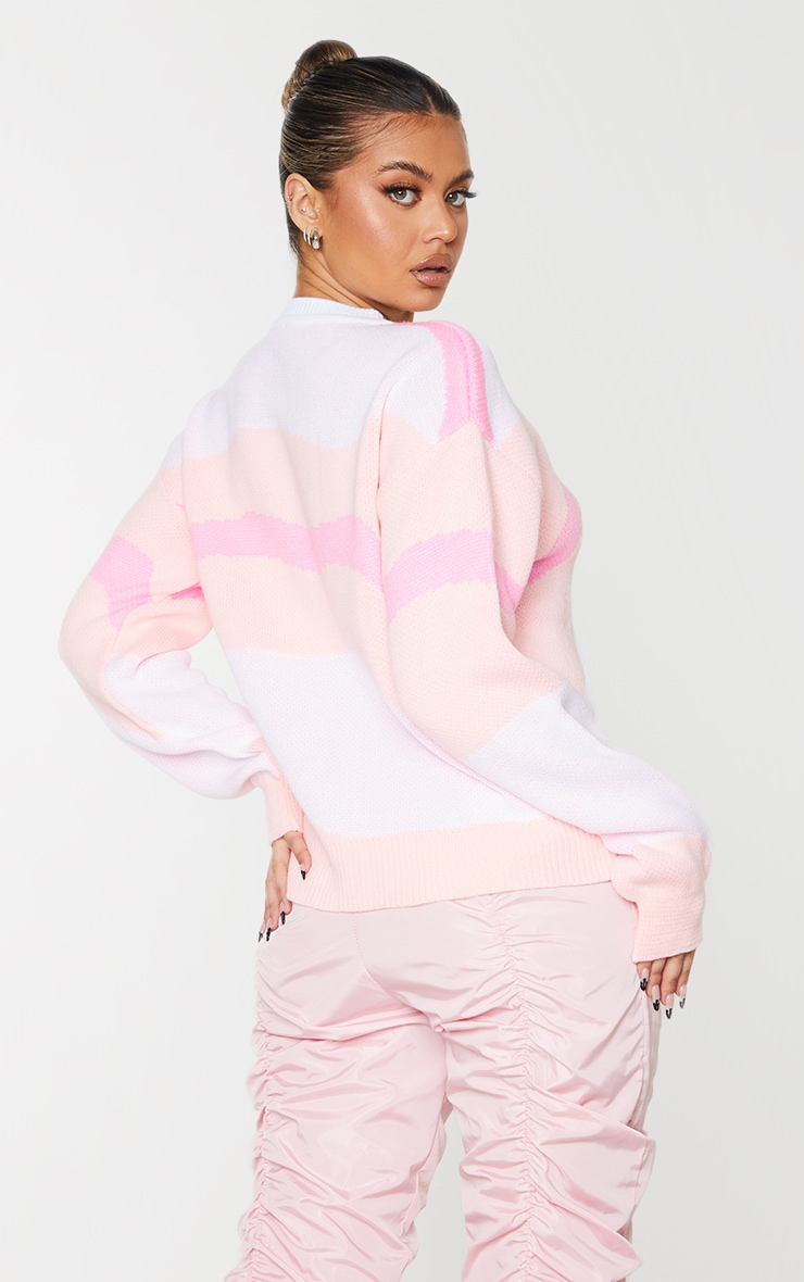 Pink Colour Block Swirl Knitted Sweater 2