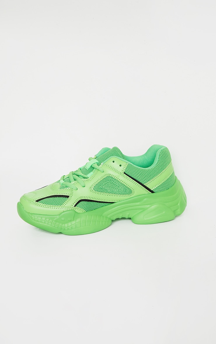 Green Reflective Panel Arch Sole Chunky Sneakers 4
