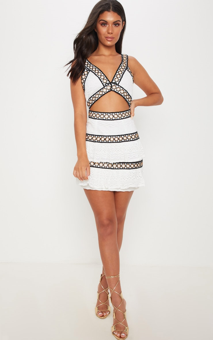 White Lace Contrast Eyelet Trim Tiered Bodycon Dress 4