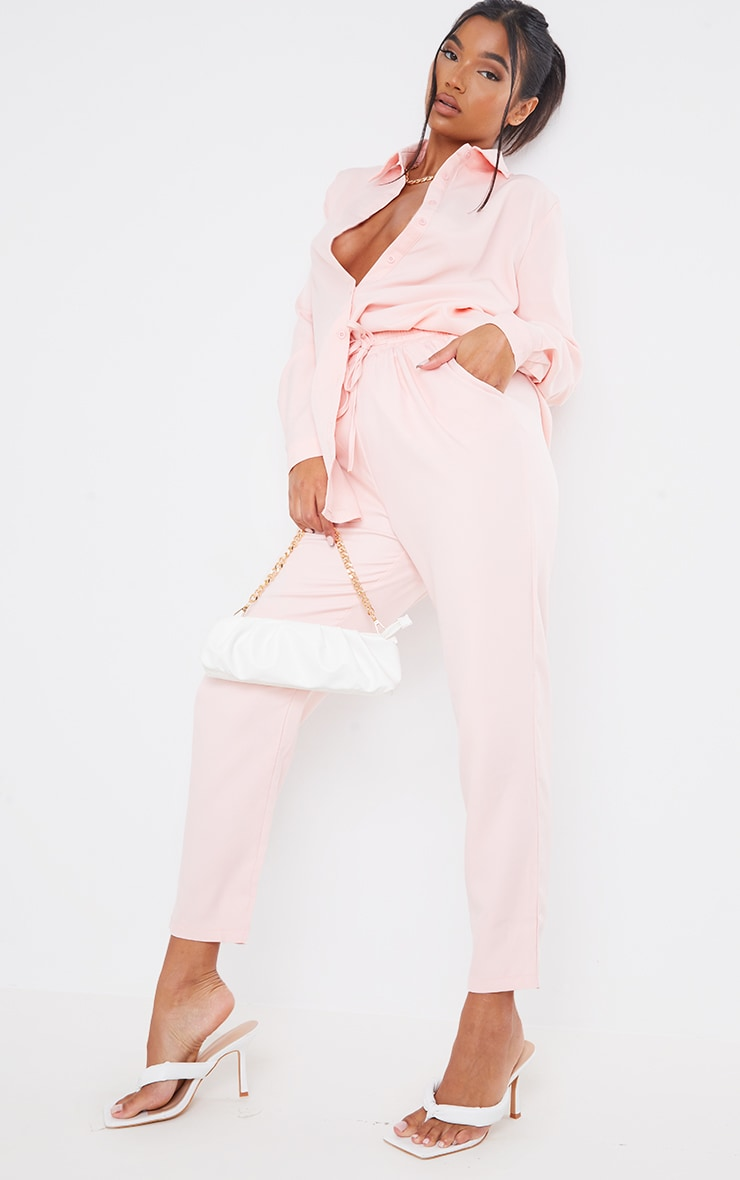 Pantalon cigarette rose clair 1