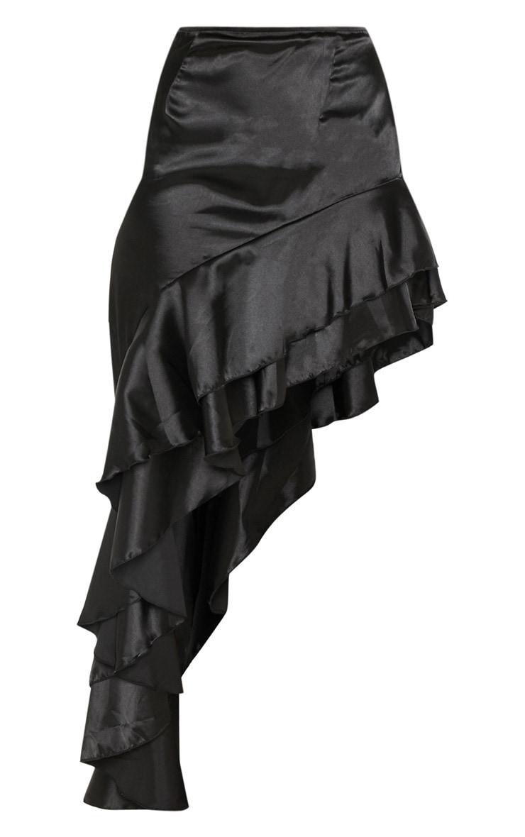 Black Asymmetric Frill Midaxi Skirt 3