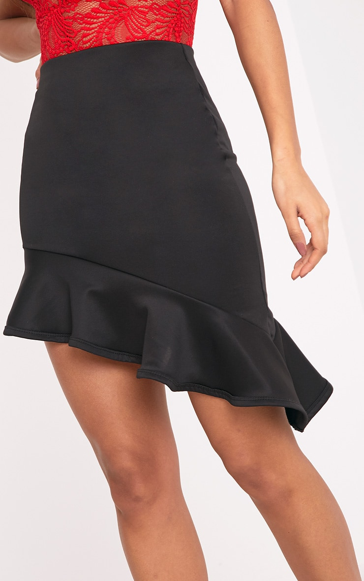 Dannia Black Asymmetric Frill Hem Mini Skirt 6