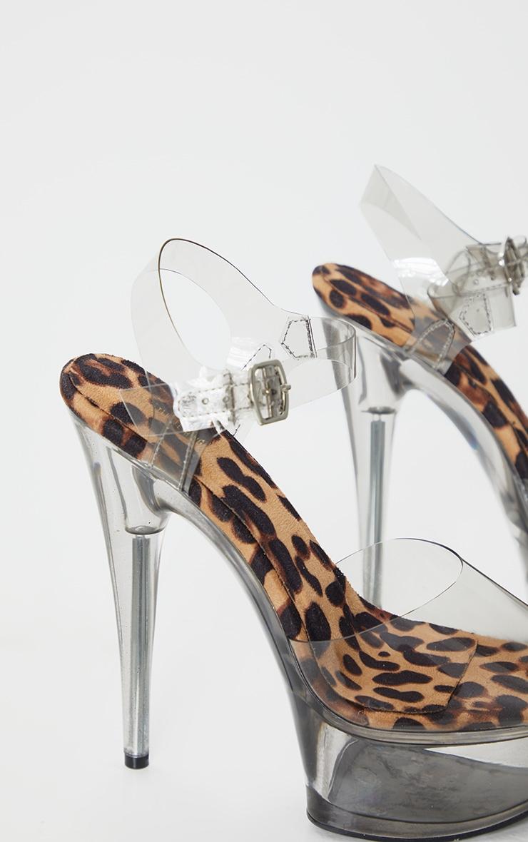 Leopard Extreme Clear Platform Sandals 4