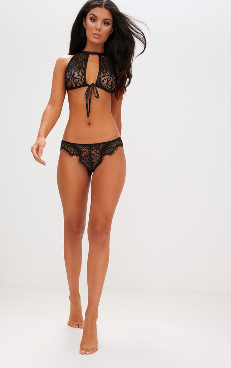 Black High Neck Lace Bow Tie Bralet 4