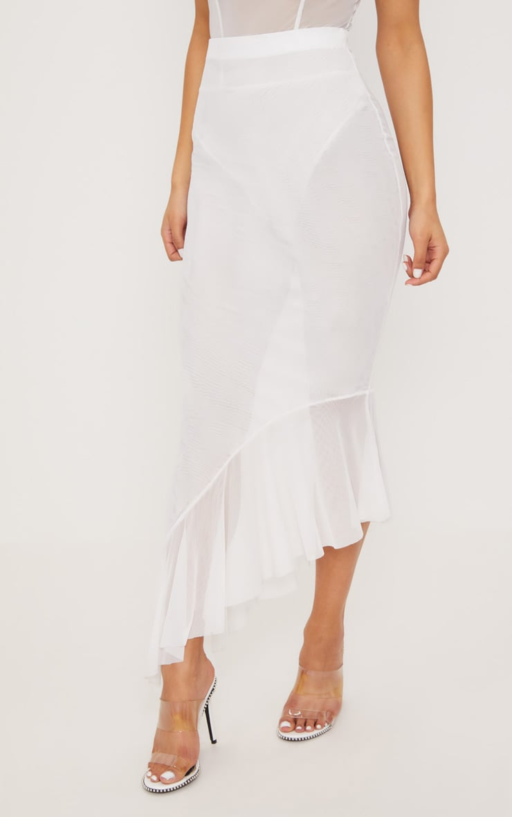 White Mesh Frill Detail Maxi Skirt 2