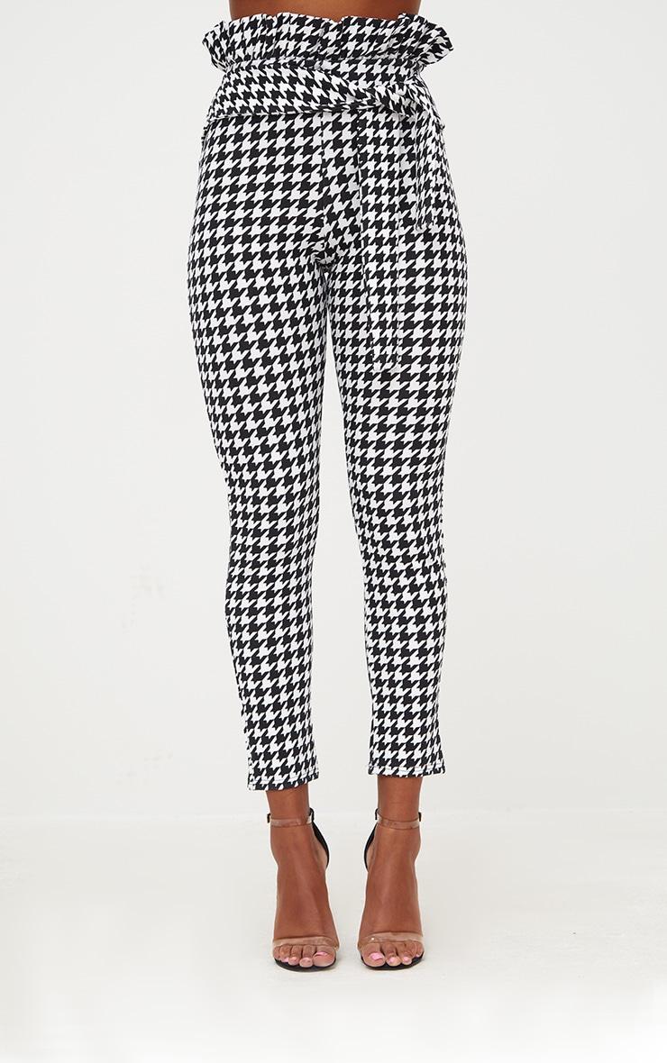 Black Dogtooth Paperbag Waist Skinny Trousers 2