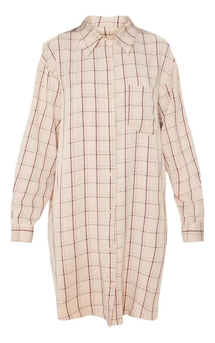 Beige Oversized Boyfriend Shirt Dress 4