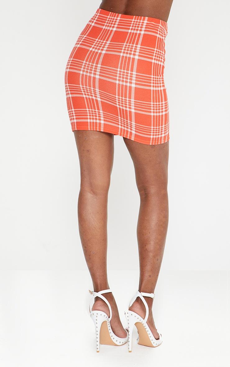 Orange Check Print Mini Skirt  3