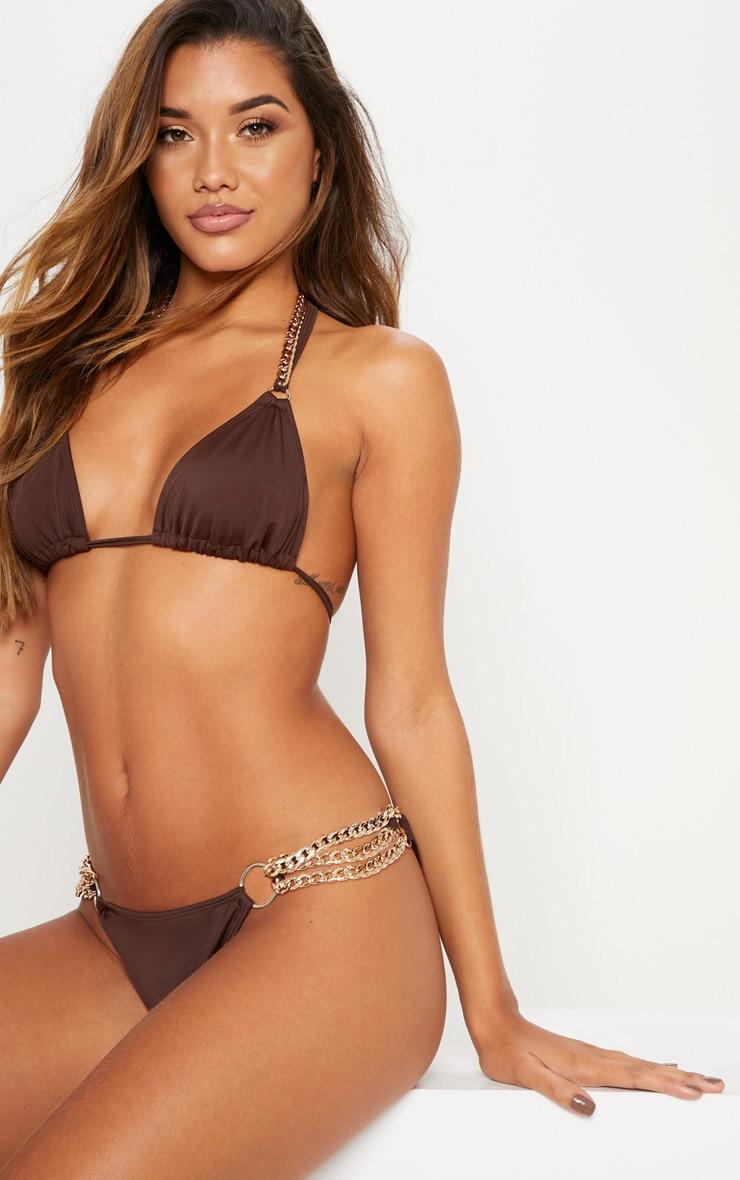 Chocolate Chain Detail Triangle Bikini Top 1