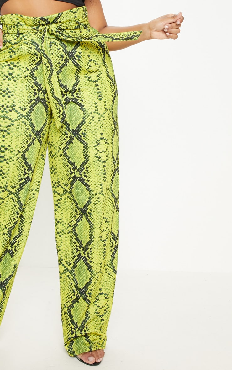 Plus Neon Yellow Snake Print Paperbag Tie Waist Wide Leg Pants  5