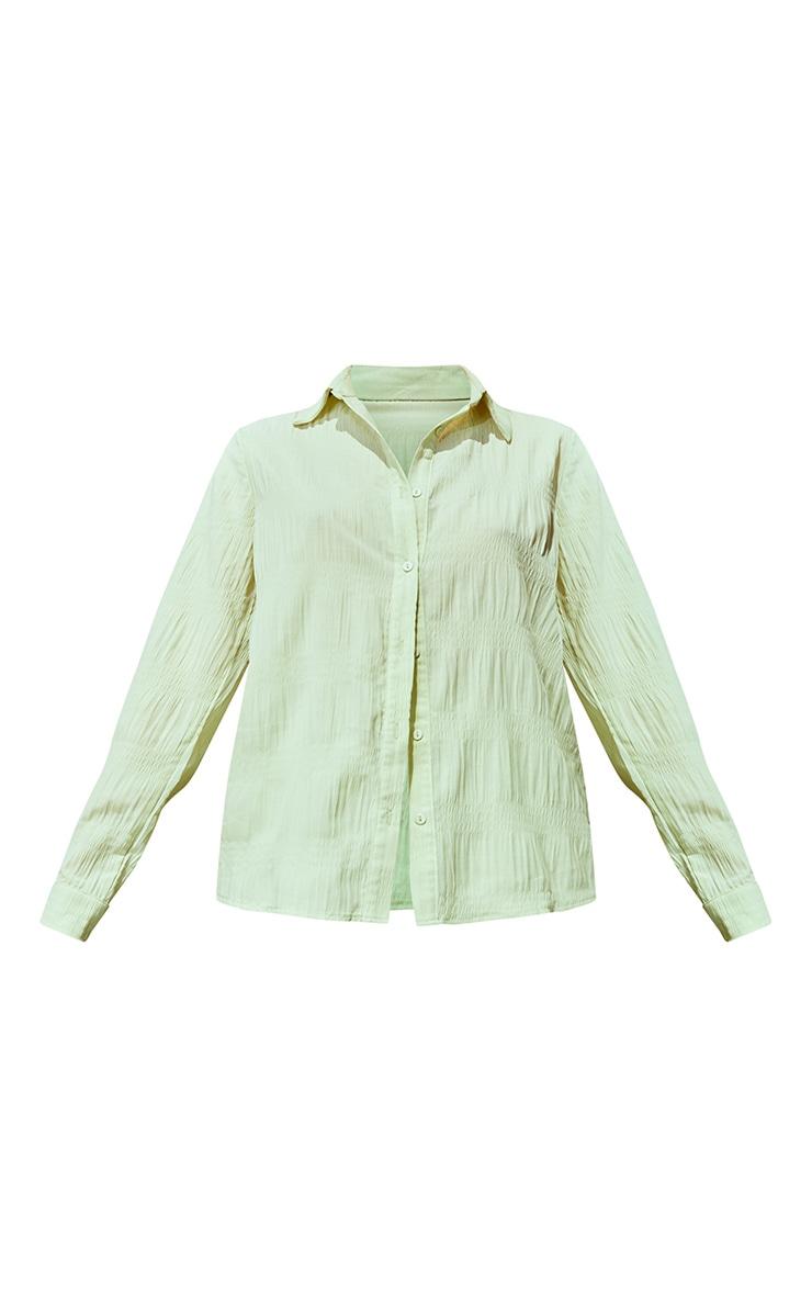Light Green Textured Chiffon Oversized Shirt 5