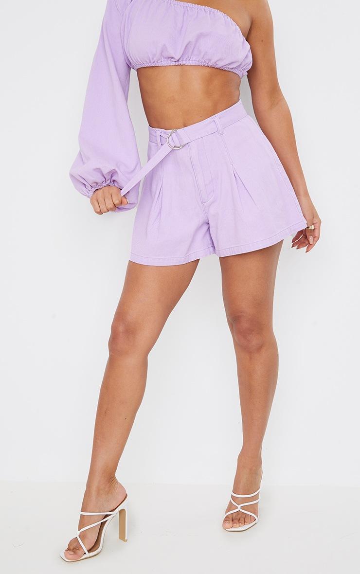 Lilac Washed Belted Denim Shorts 2