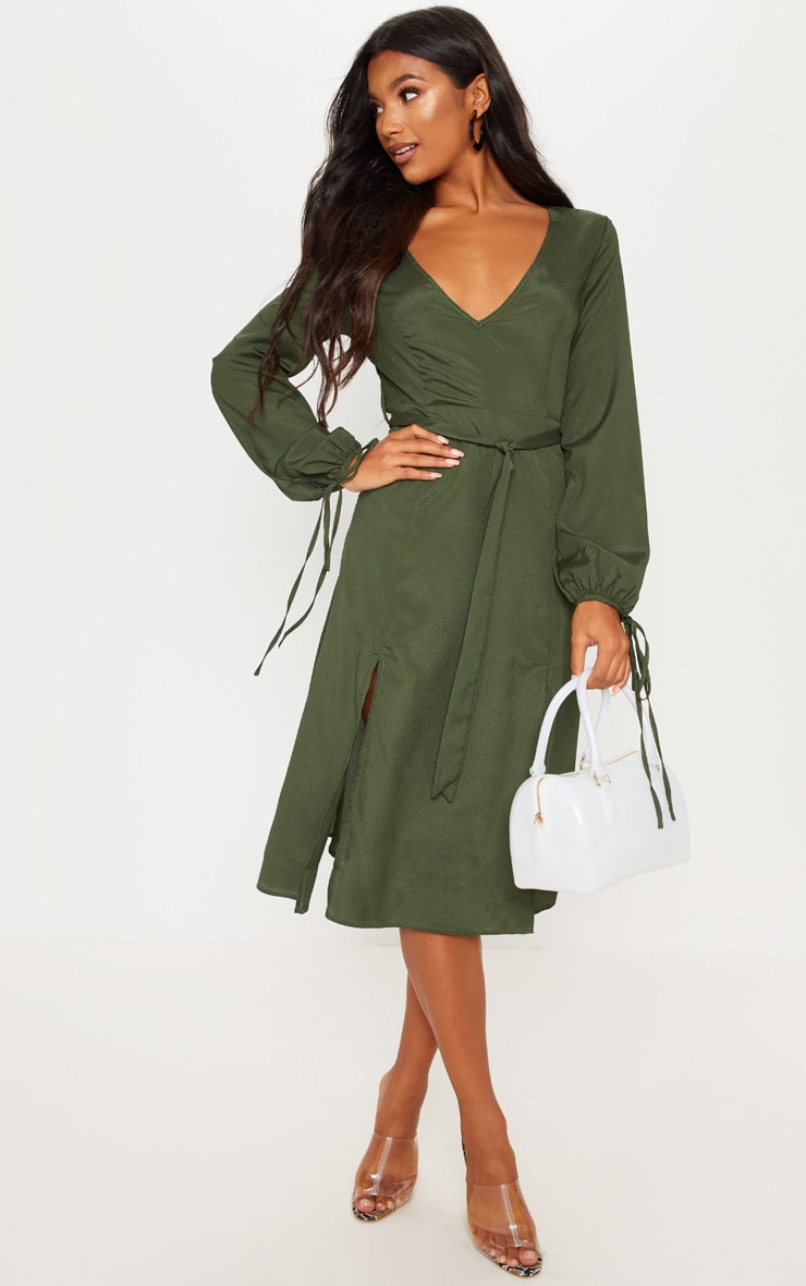 Forest Green Tie Waist Split Midi Dress 1