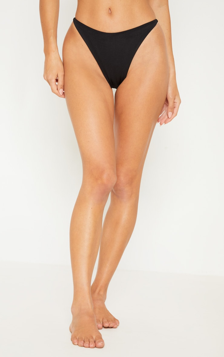 Black Minimal Elastic Bikini Bottom 3