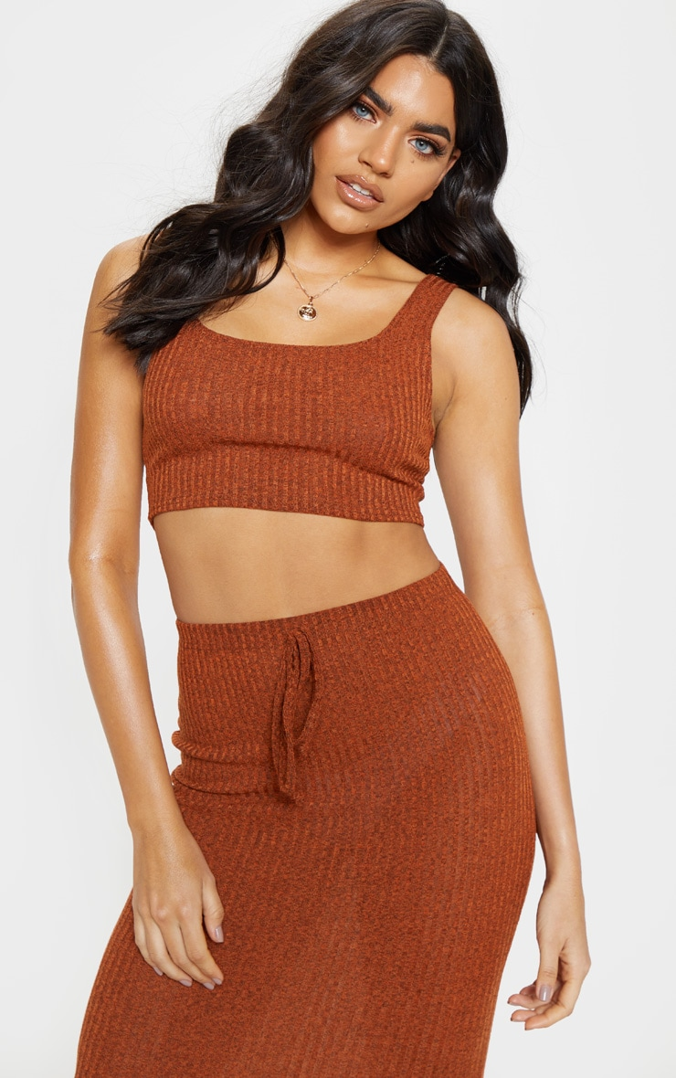 Orange Knitted Ribbed Crop Top  1