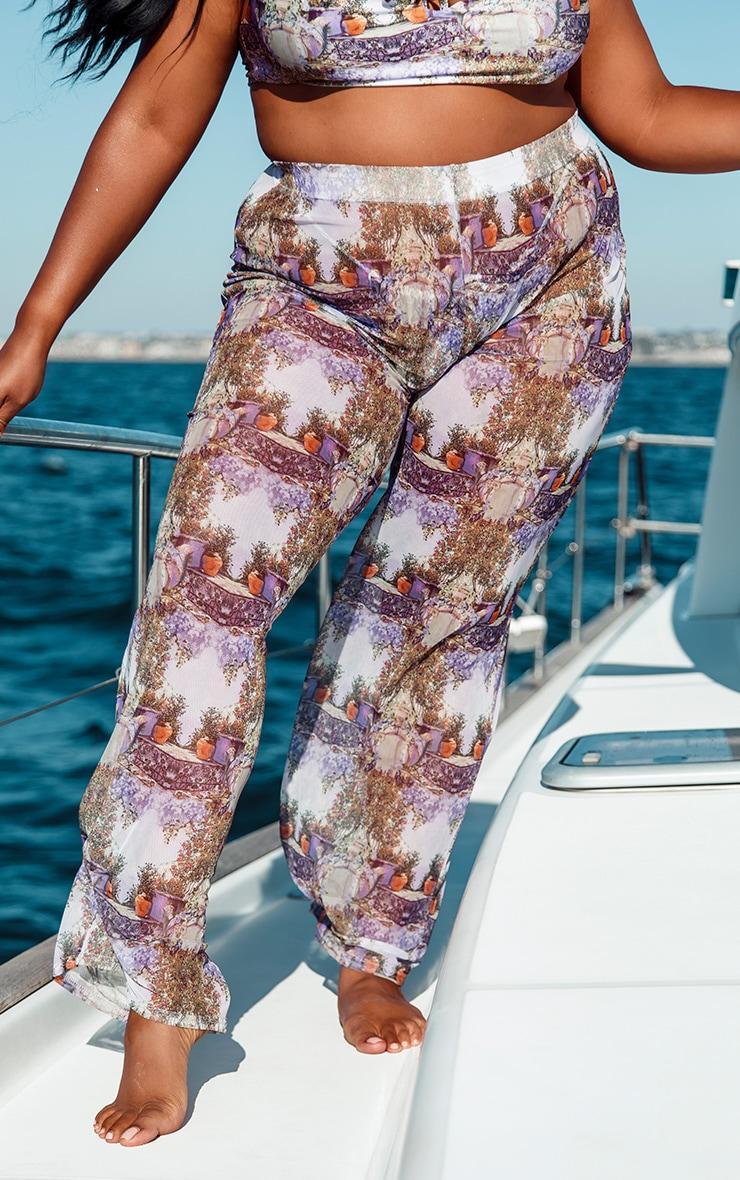 Plus Purple Garden Scene Wide Leg Beach Pants  2