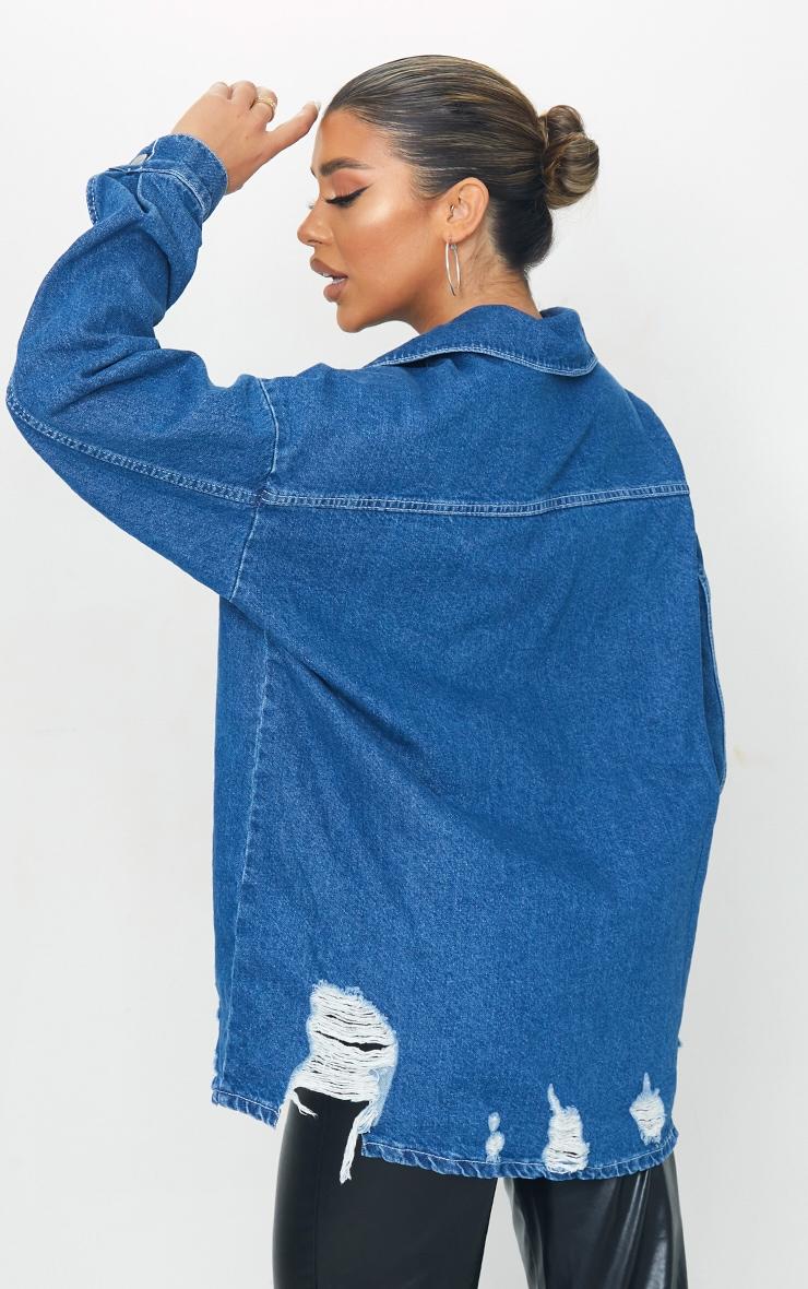 Mid Blue Wash Oversized Drop Shoulder Distressed Denim Shirt 2
