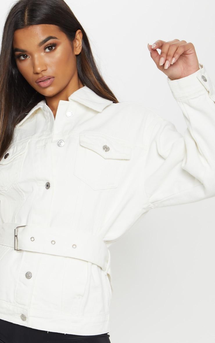 White Buckle Waist Denim Jacket  5