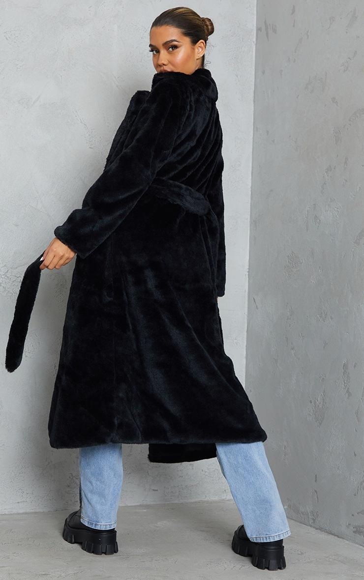 Black Belted Faux Fur Coat 2