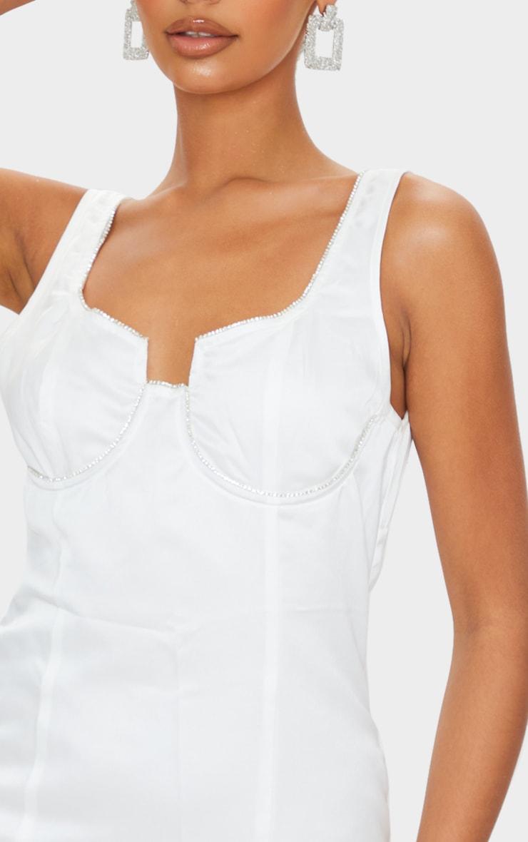 White Diamante Cup Detail Sleeveless Bodycon Dress 4