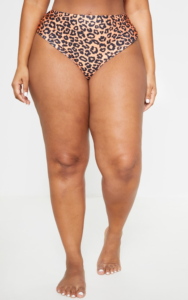 Plus Orange Leopard Print High Rise Bikini Bottom 2