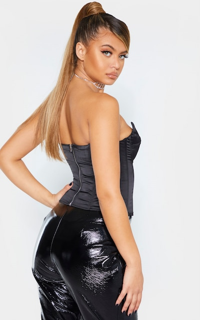 Black Satin Structured Bust Detail Corset Top