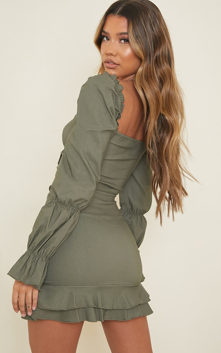 Khaki Woven Stretch Frill Ruched Front Long Sleeve Crop Top 2