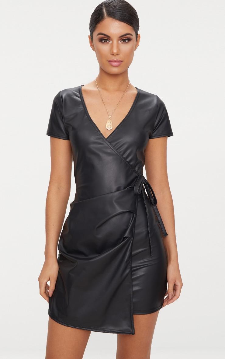 Black Short Sleeve Wrap Over PU Bodycon Dress 1