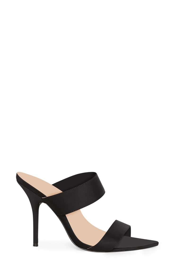 Black Extreme Point Twin Strap Mule Sandal 3