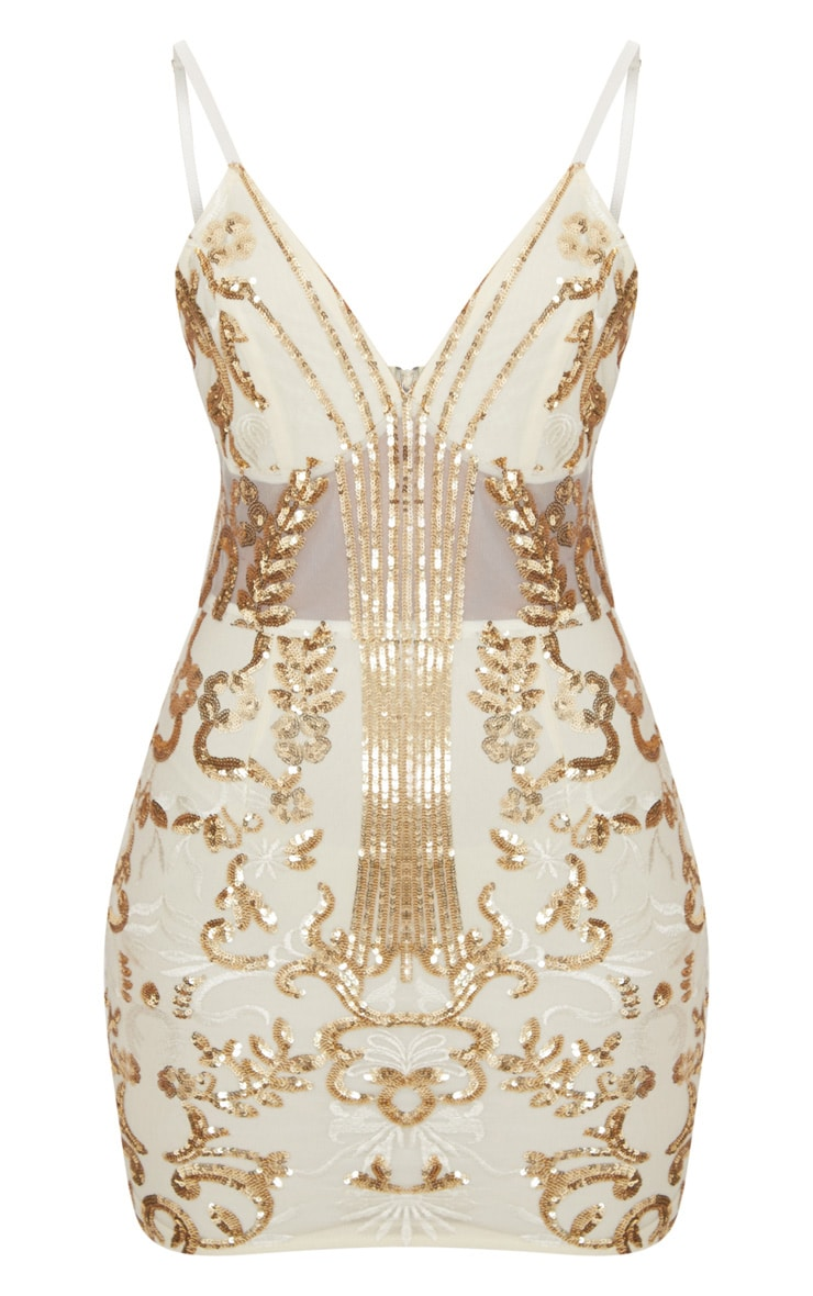 Gold Sheer Strappy Panel Sequin Bodycon Dress 3