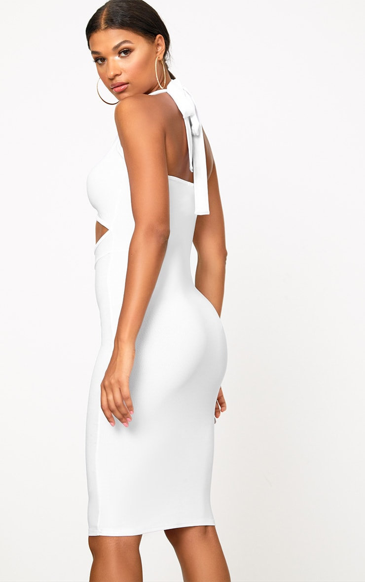 White Halterneck Midi Dress 2