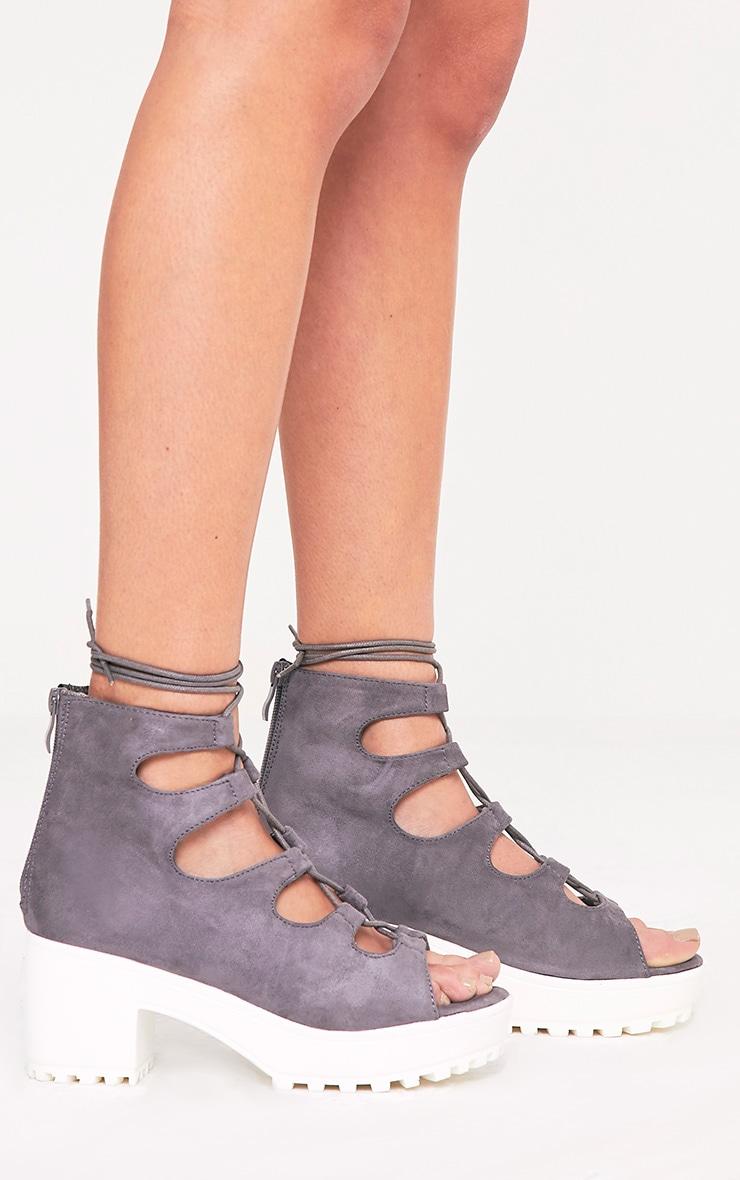 Caprice Grey Faux Suede Lace Up Sandals 3