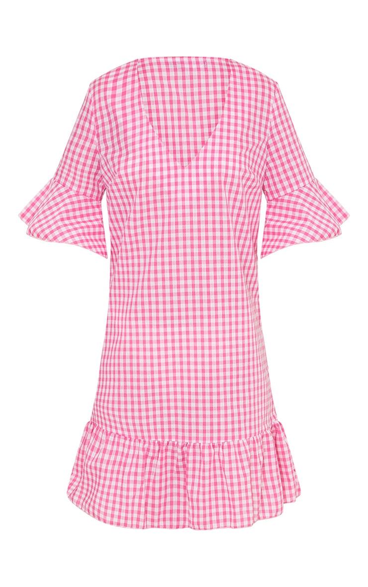 Fenaline Pink Gingham Plunge Frill Detail Shift Dress 3