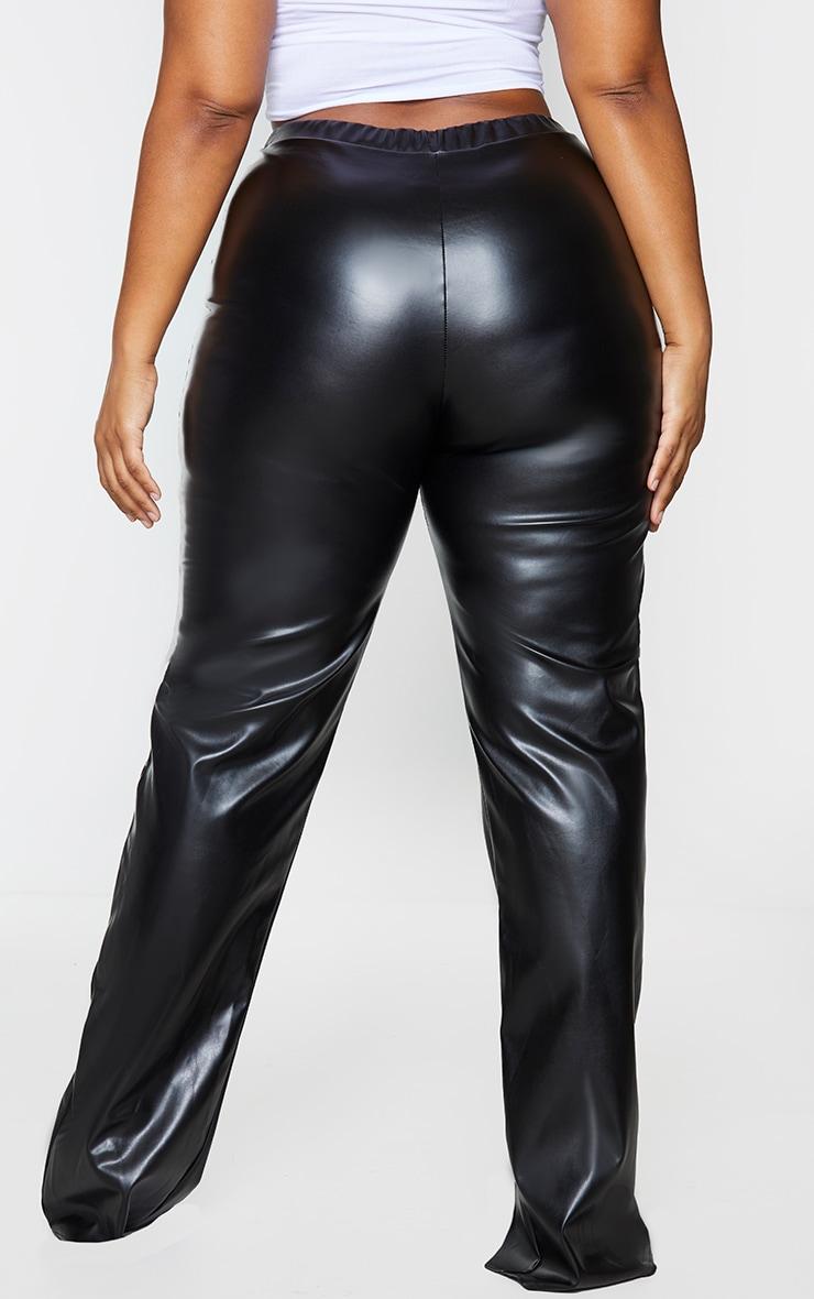 Plus Black Faux Leather Seam Detail Split Hem Pants 3
