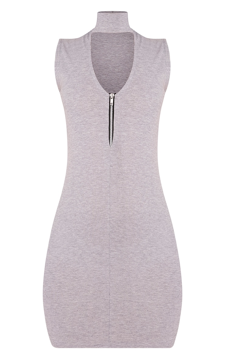 Marlene Grey Sleeveless Plain Zip Ribbed Bodycon Dress 3