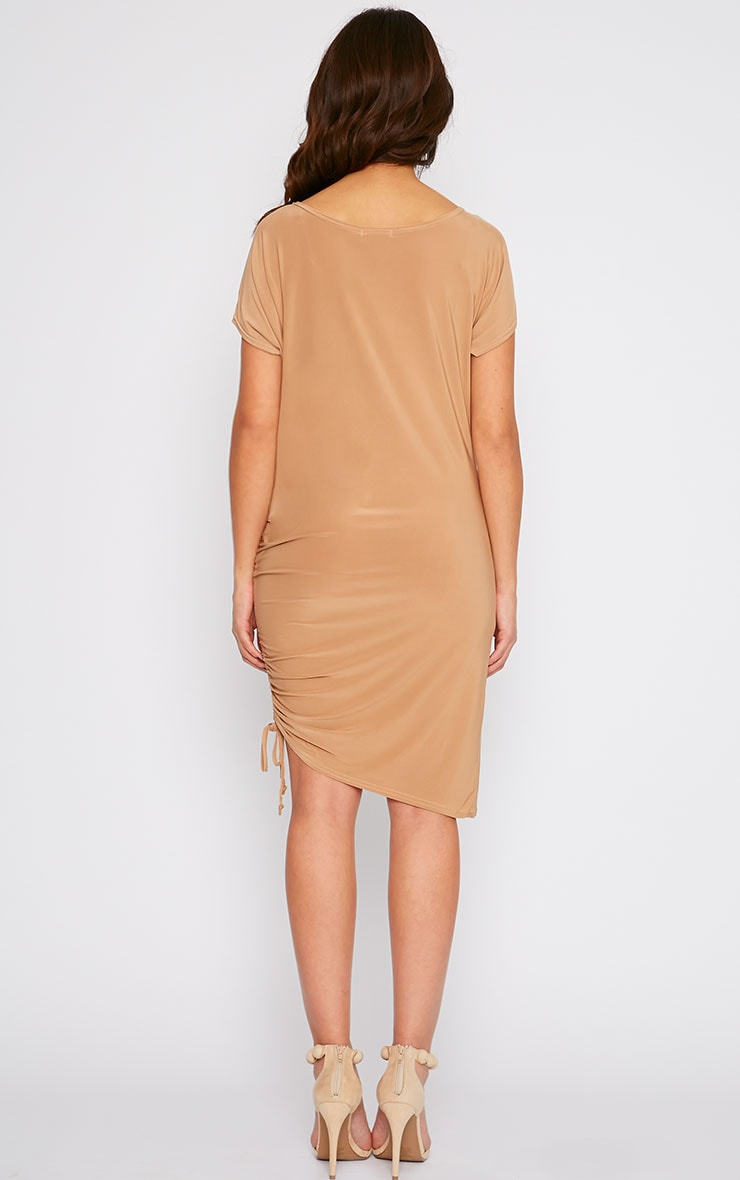 Joette Camel Slinky Gathered Dress 2