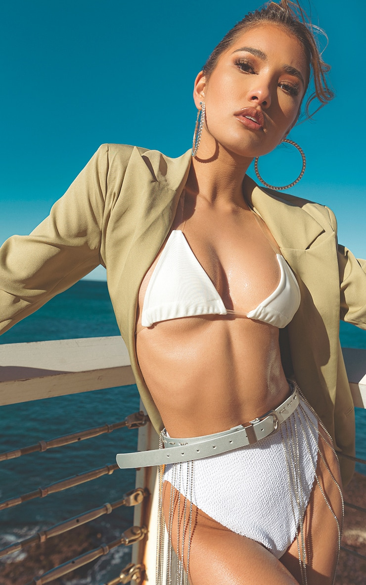 White Clear Strap Triangle Bikini Top 1