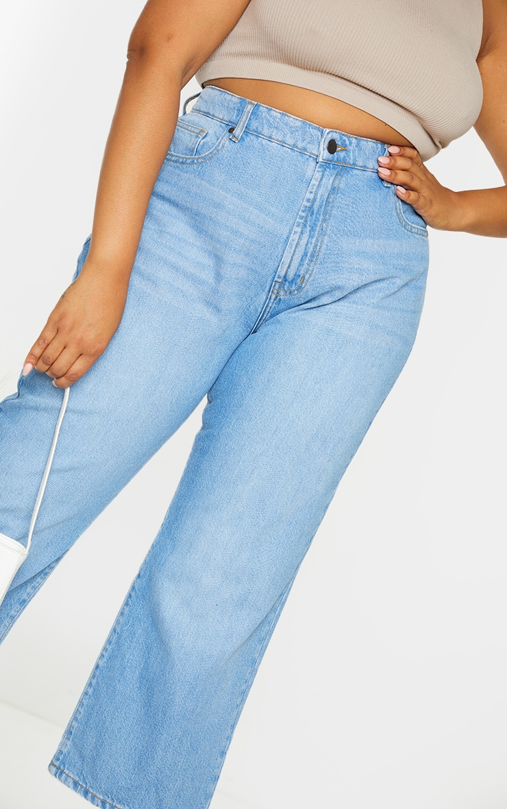 Plus Light Wash Wide Leg Denim Cropped Jeans 4