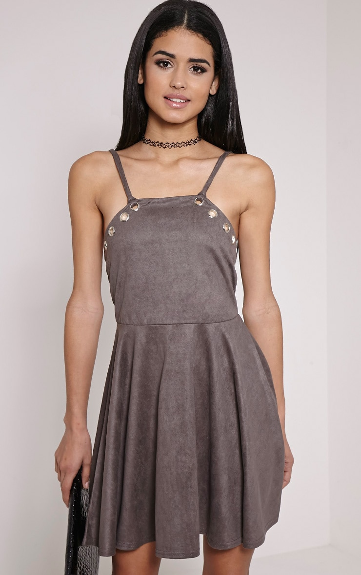 Issa Charcoal Eyelet Faux Suede Skater Dress 1