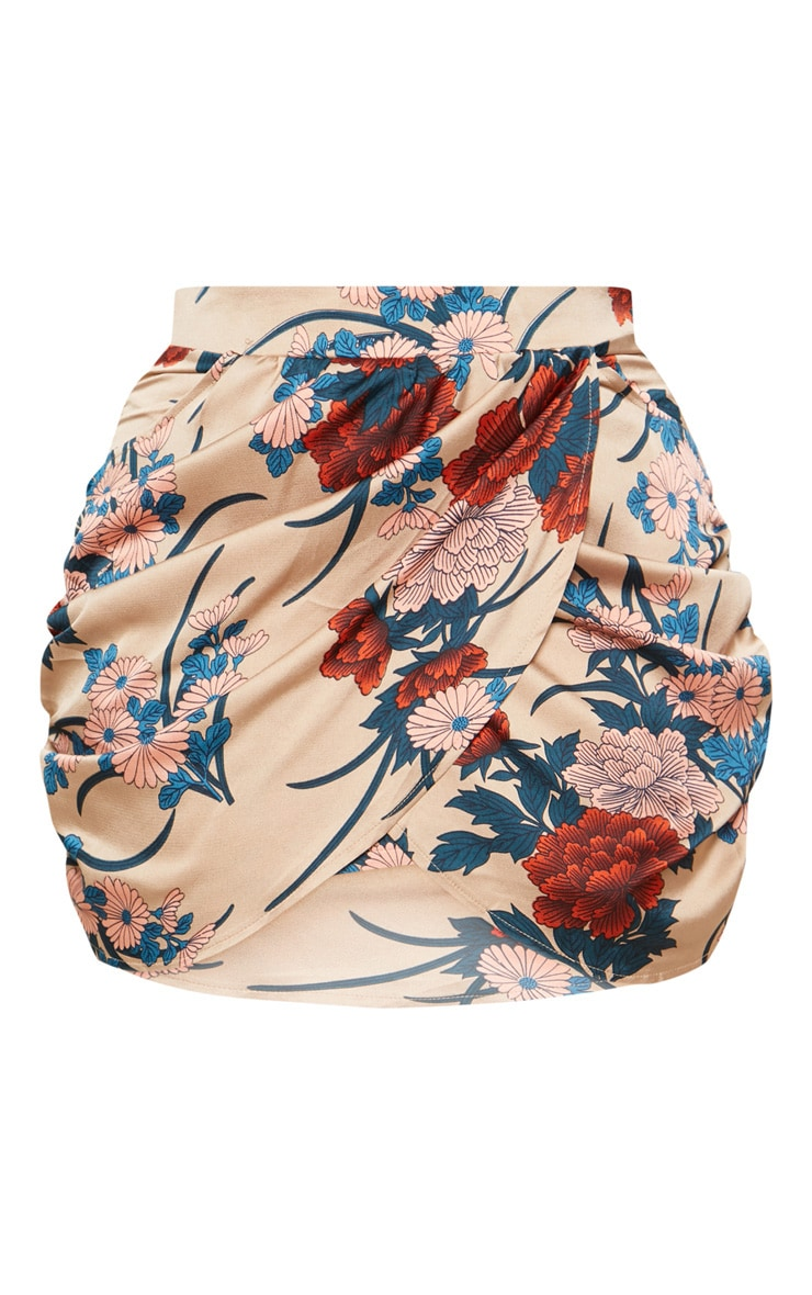 Plus Nude Satin Floral Print Gathered Mini Skirt 3