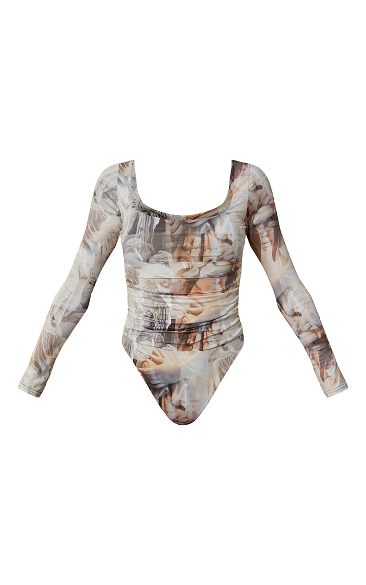 Nude Renaissance Printed Slinky Ruched Long Sleeve Square Neck Bodysuit 6