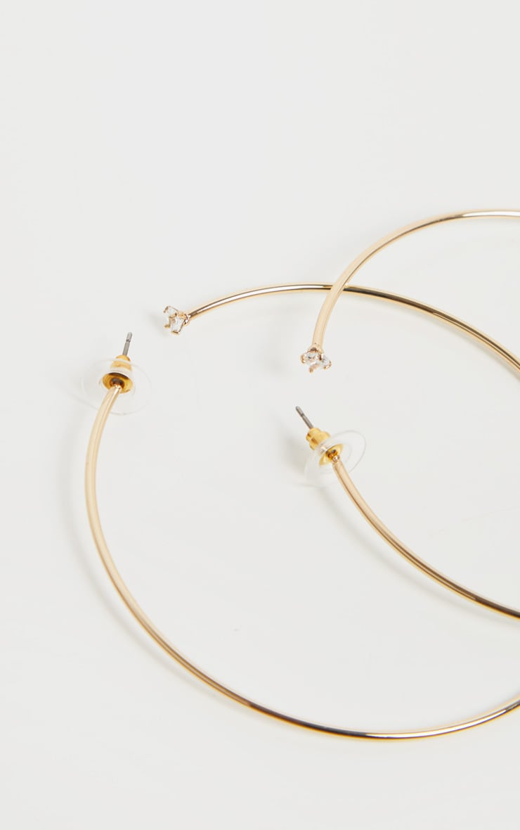 Gold Diamante Detail Hoop Earrings 3