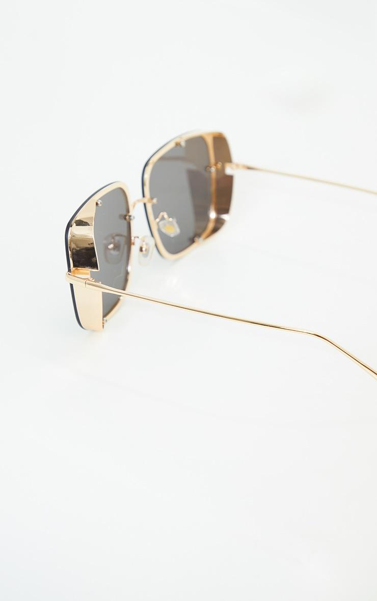 Black Oversized Square Lens Frameless Sunglasses 3