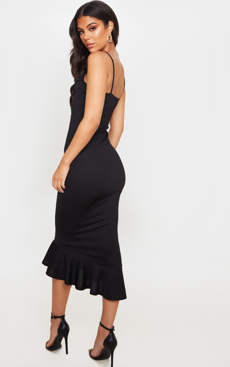 Black Crepe Cowl Frill Hem Midi Dress 2