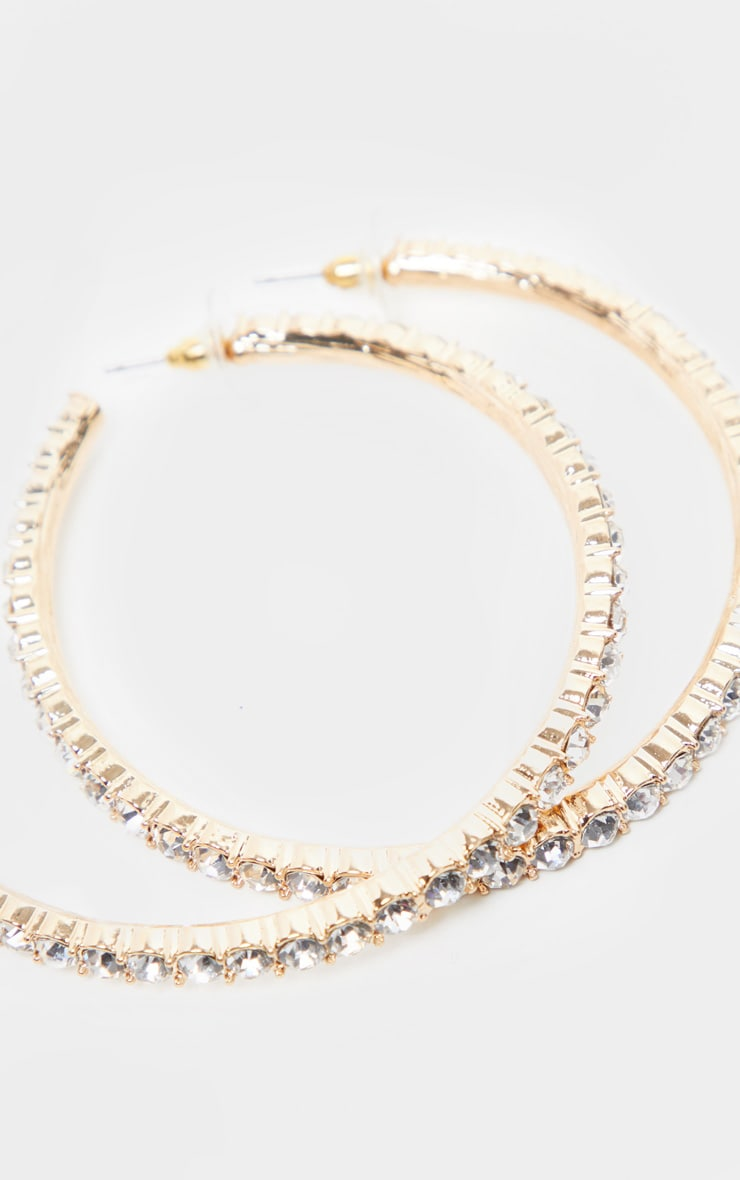 Crystal Diamante Row Hoop Earrings 3