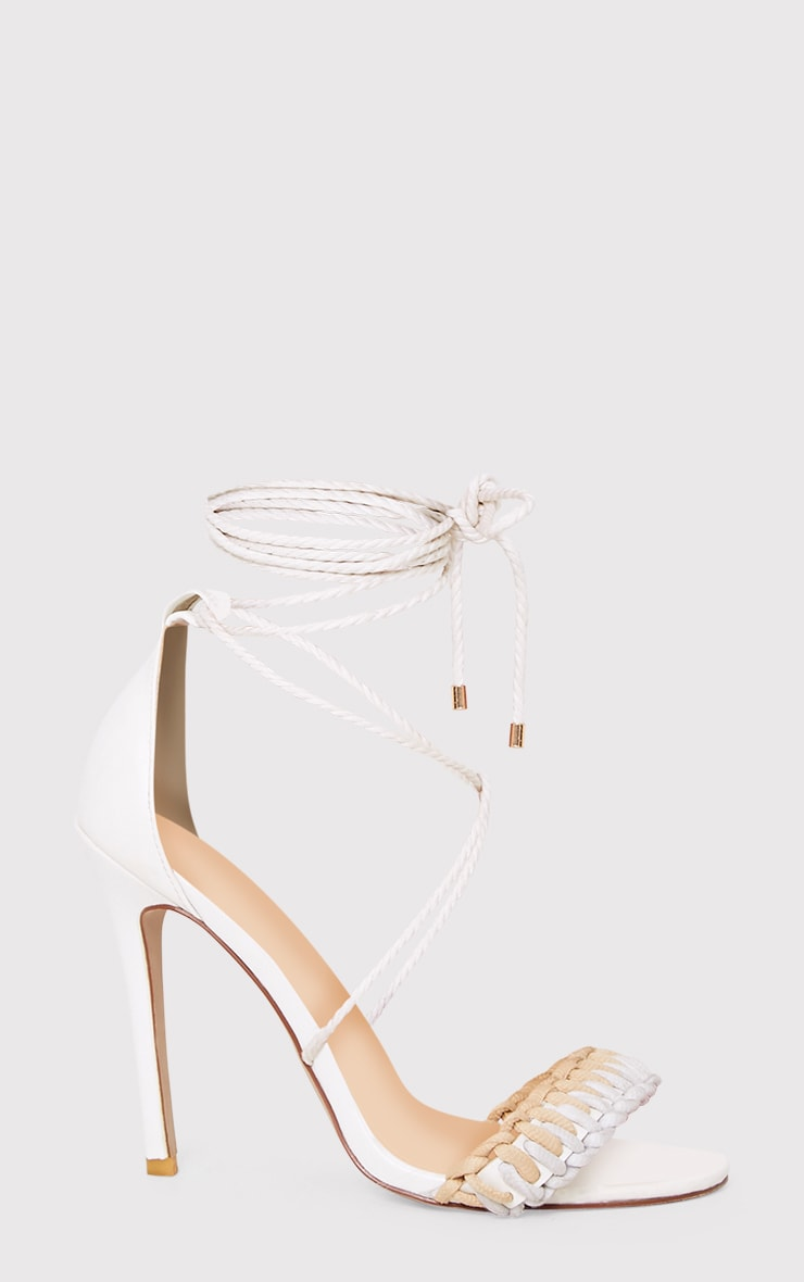Enya White Contrast Piping Lace Up Heels  3